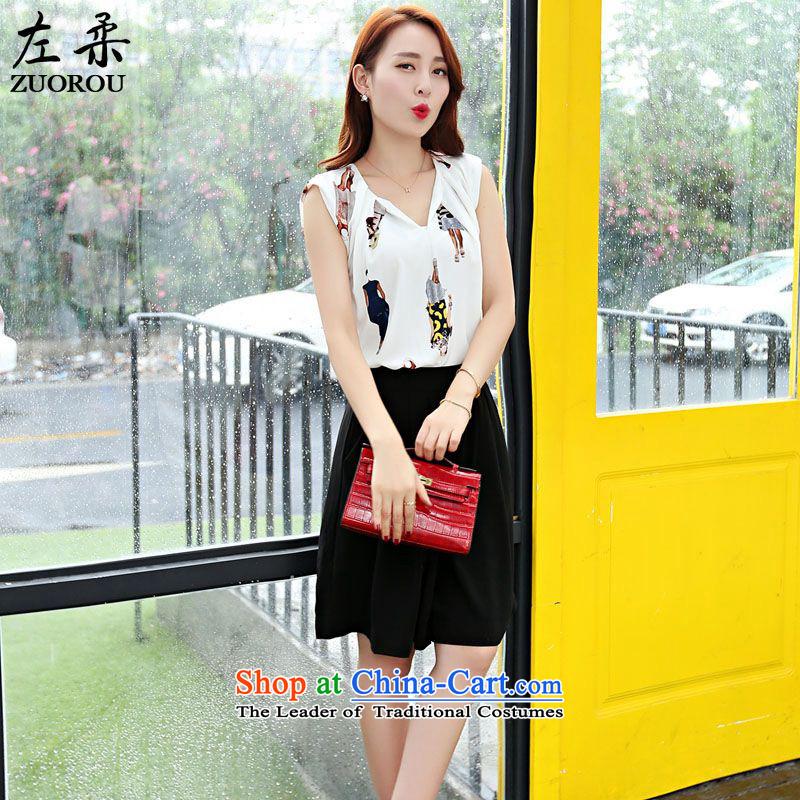 Sophie  2015 summer left kit Korean female chiffon stamp V-Neck +5 hours skirt trousers Kit Video thin two kits figure as the primaryXXL
