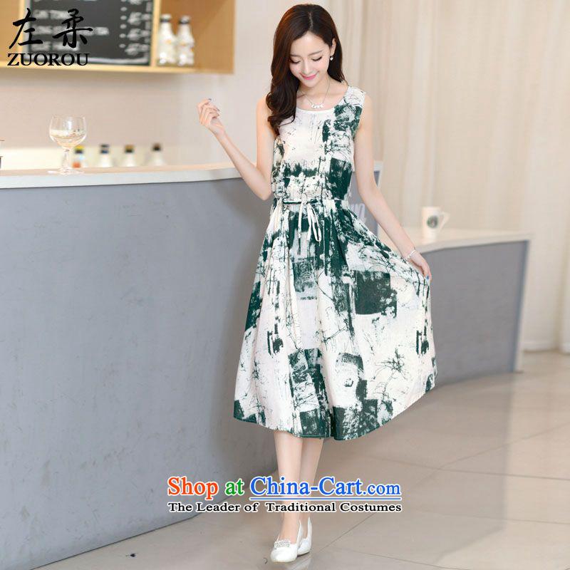 2015 Summer Sophie left Korea Version Stamp dyeing ink painting small new definition arts fan cotton linen Sau San female dresses greenL