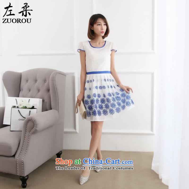 2015 Summer Sophie left Korean female sweet Sau San positioning the stamp of short-sleeved Sau San female dresses skirt blue on white flowersL