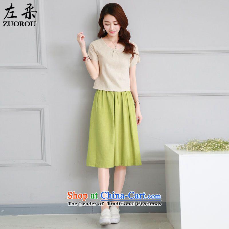 2015 Summer Sophie left Korean female cotton linen package retro arts van two kits linen short-sleeved blouses and female skirt kit skirt on the green MXL