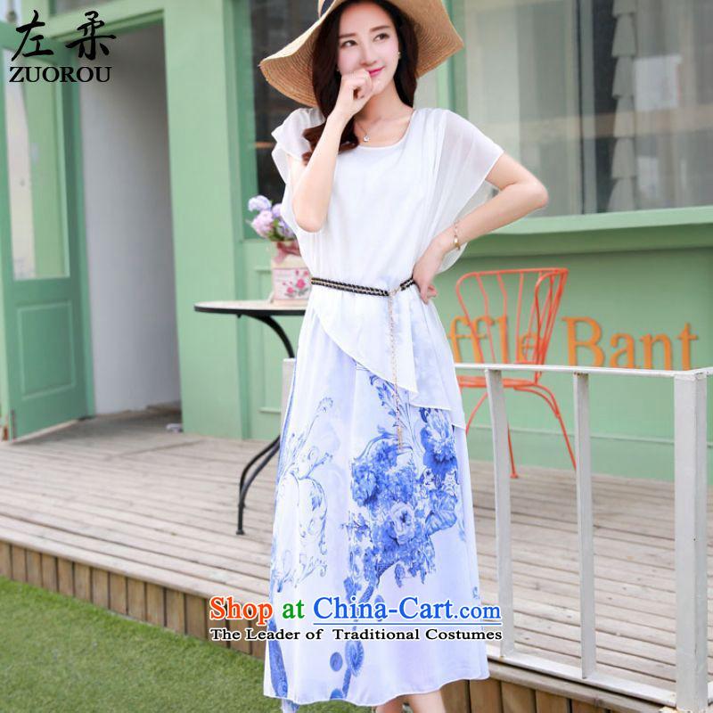 2015 Summer Sophie left Korean female Bohemia leave two long stamp chiffon dresses Resort Long skirts WhiteM female