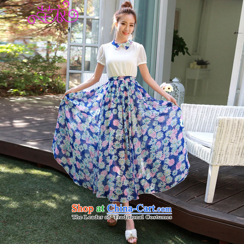 The 2015 edition of the new Korean) for Sun Flower stamp butterfly chiffon long skirt thick mm xl women's elegant and stylish Foutune of video thin resort blue skirt to large 3XL 150-165¨catty