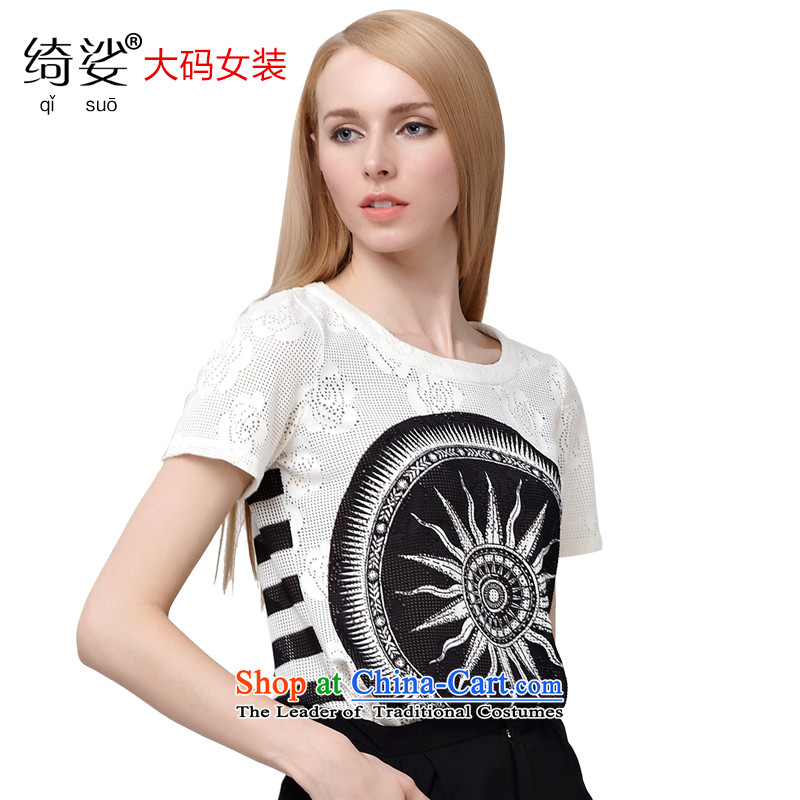 As provided for by 2015 XL female thick MM new summer products Korean Stamp lounge suites and head of Sau San short-sleeved T-shirt 2800  5XL White