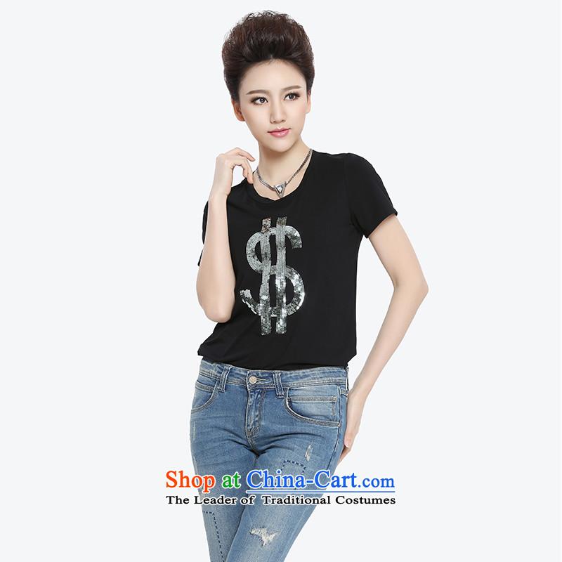 The former Yugoslavia Migdal Code women 2015 Summer new stylish light slice mm thick short-sleeved T-shirt 952153985 personality Sau San5XL Black Silver