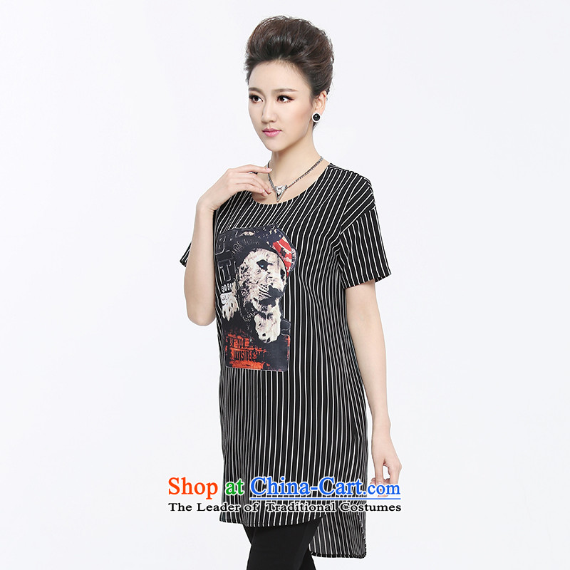 The former Yugoslavia Migdal Code women 2015 Summer new stylish mm thick banding floral stitching T-shirt, black-and-white3XL 952153990