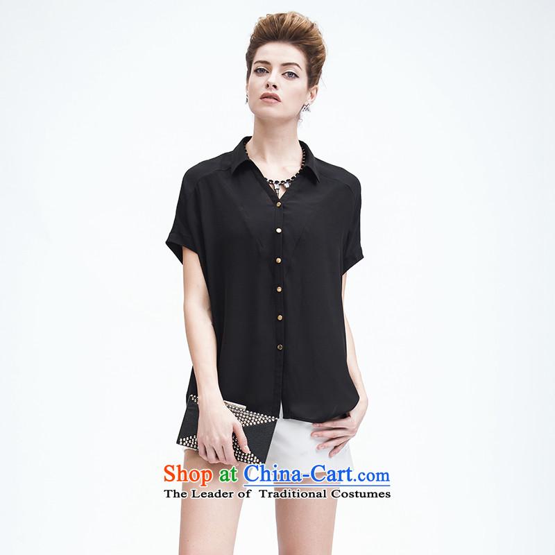 The former Yugoslavia Migdal Code women 2015 Summer new thick mm leisure fresh wild short-sleeved shirt femaleblack3XL 952013257