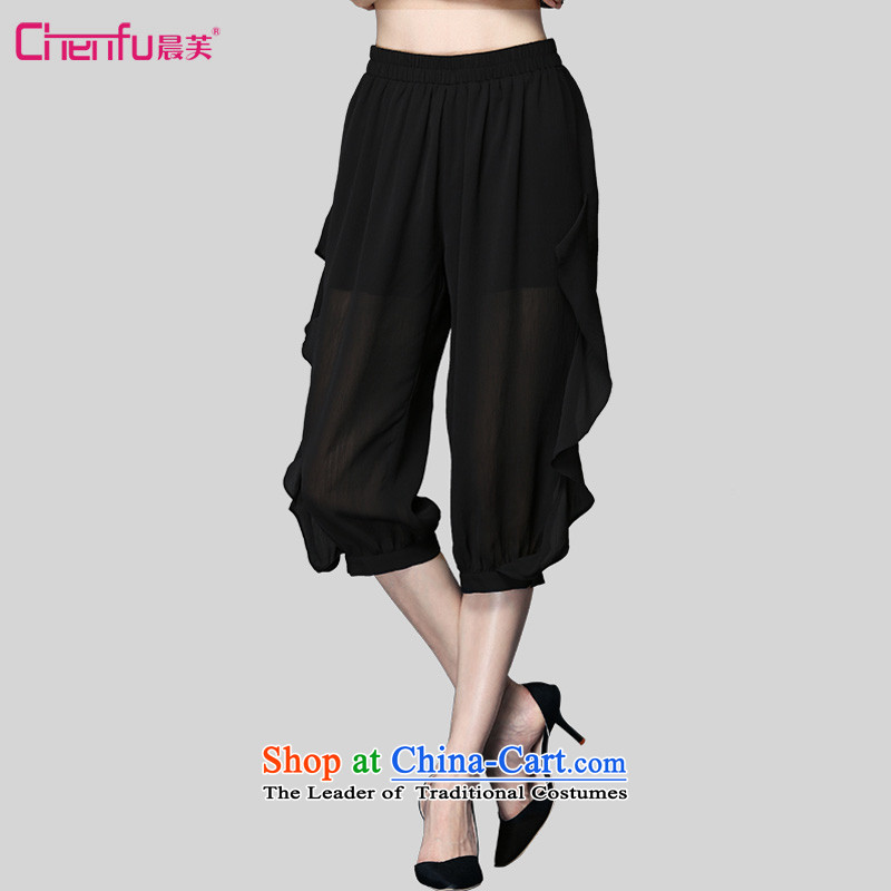 2015 summer morning to new to increase women who are video decode thin wild Harun 7 chiffon , Mr female trousers mm thick black trousers燲L_ leisure. Suitable for 120-135 catty_