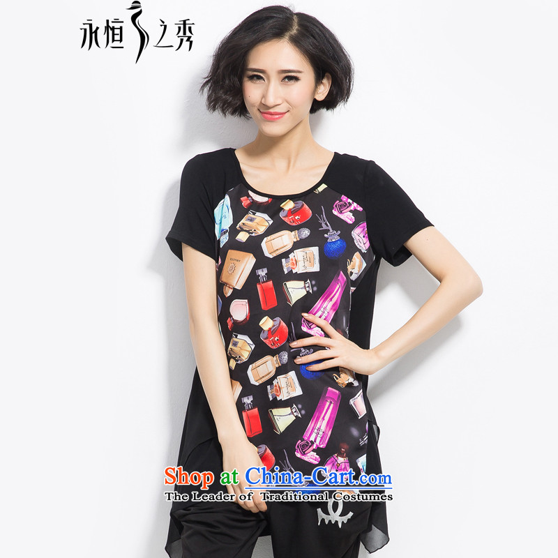 The Eternal Yuexiu Code women 2015 Summer new product expertise, Hin thin tee thick mm to xl women's stylish and classy satin black T-shirt loose stamp燣