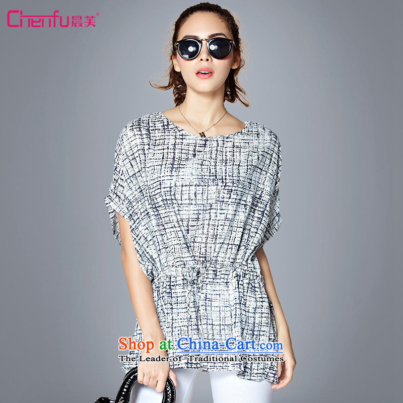 Morning to 2015 to increase the number of women with the summer bat sleeves saika stamp chiffon short-sleeved shirt video thin thick mm loose Foutune of T-shirt stamp blue on white T-shirt,�5-180 for a catty_ 4XL_