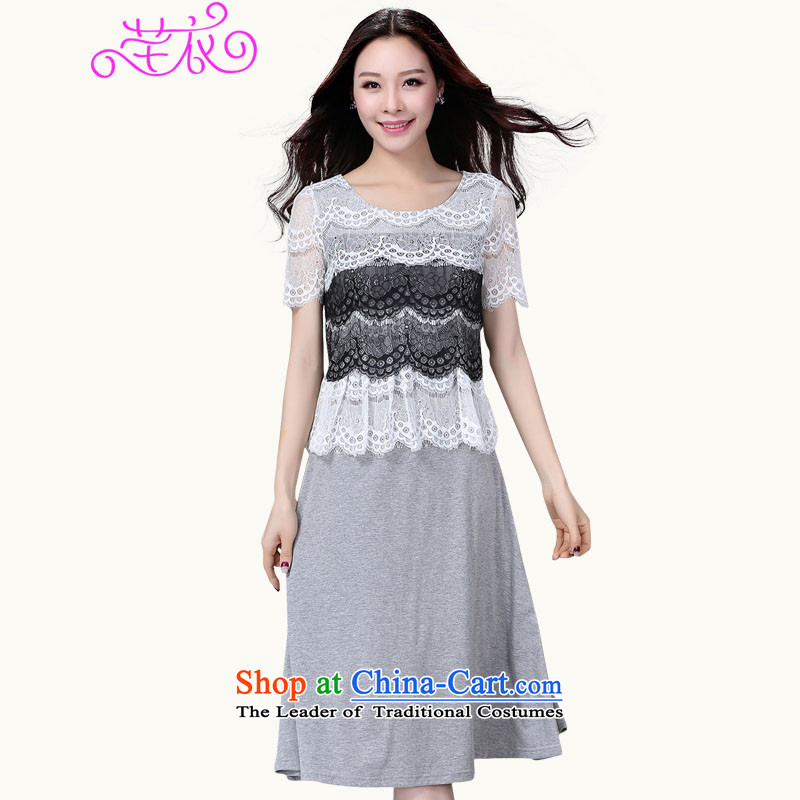 City Break large women 2015 plus overweight temperament lady skirt thick mm summer short-sleeved Elegant New Sau San video thin OL commuter skirt gray large 2XL 140-155 catty