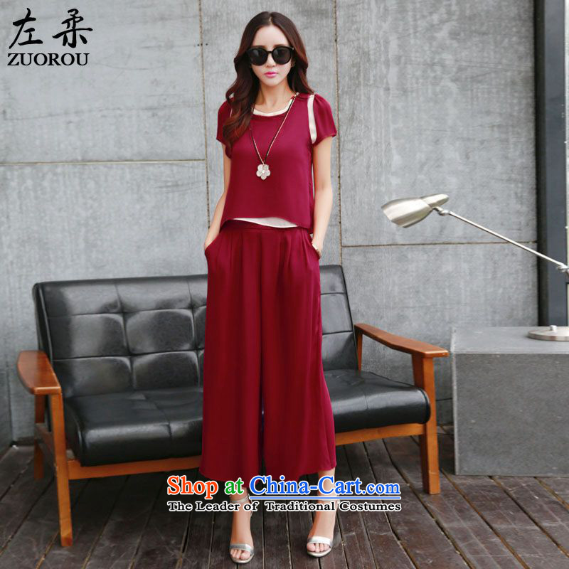 Sophie�  2015 summer left Western women chiffon shirt 9 wide-legged pants two kits female stylish Sau San Kit wine red燲XL