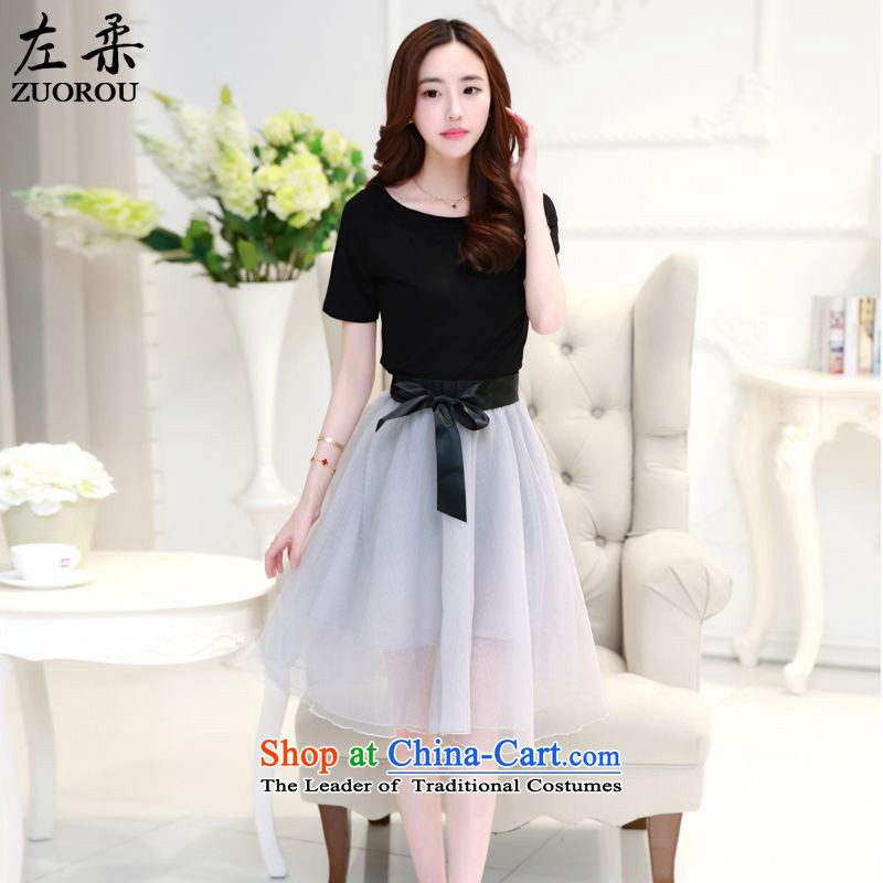 2015 Summer Sophie left Korean female sexy a field for T-shirt + system bow tie the yarn sweet bon bon skirt two-piece set with black and gray S