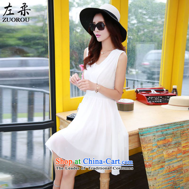 � 2015 Summer Sophie left Korean female sweet sexy small V-Neck creasing of the Sau San chiffon sleeveless dresses video thin large skirt White燲XL
