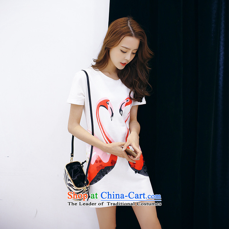 2015 new larger female thick mm summer Korean version out of thin swan pattern does not selection suits skirts燲XXXL White