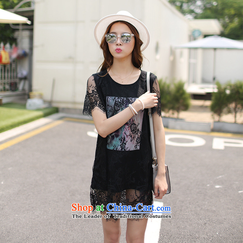 Maximum number of ladies Summer 2015 Korean New thick mm very casual video thin lace stitching dress T Black聽XXXXL