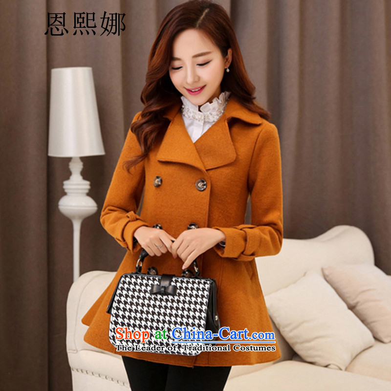 Eun-hui of the 2015 Spring New Korean citizenry elegant thick a wool coat jacket in gross? Long Large cloak 1099 Orange S