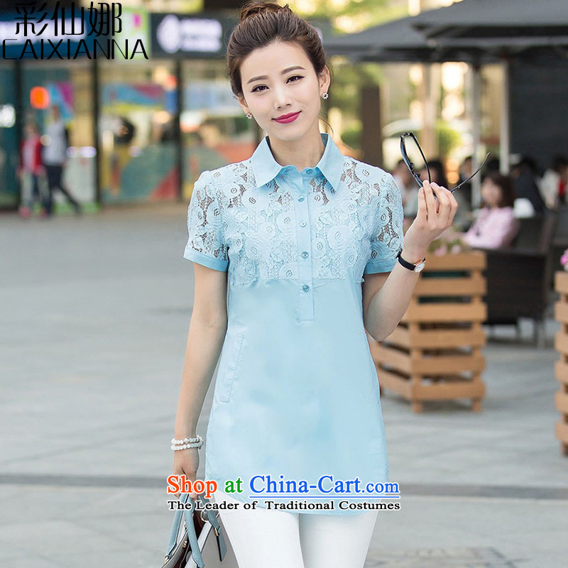 The 2015 summer of sin also the new Korean version of large numbers of ladies thick MM lace short-sleeved shirt, long blue L