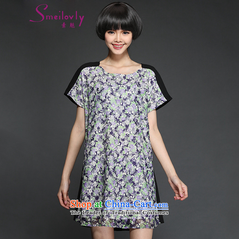 So clearly to xl short-sleeved blouses and dresses 2015 Summer new chubby sister stylish stamp graphics thin,�  2,810爈arge floral 3XL around 922.747 160
