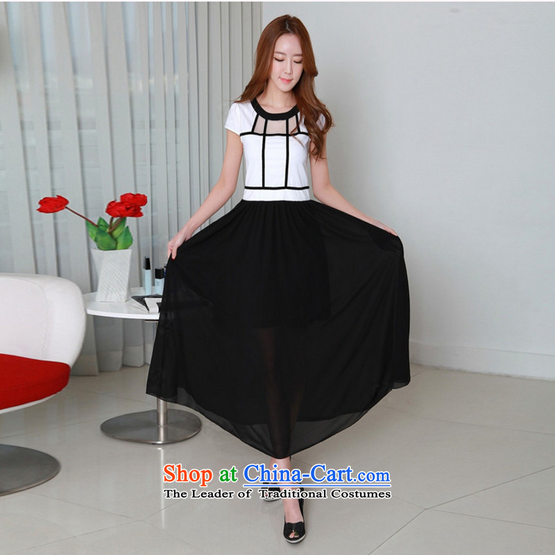 C.o.d. chiffon fat mm summer 2015, summer new Korean elegant graphics thin chiffon colored temperament unearthly knocked long skirt skirt black L