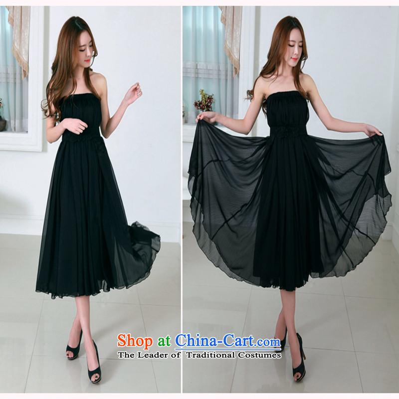 C.o.d. chiffon fat mm summer 2015, summer new third through, double-decker temperament chiffon skirt 10 m large gliding Bohemia long skirtXXXL black