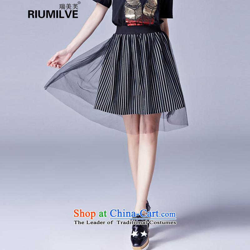 Rui Mei to2015 to increase the number of women with new summer vertical streaks gauze stitching body fat mm video thin skirt female short skirts bon bon skirtXXXXL 3653 Black
