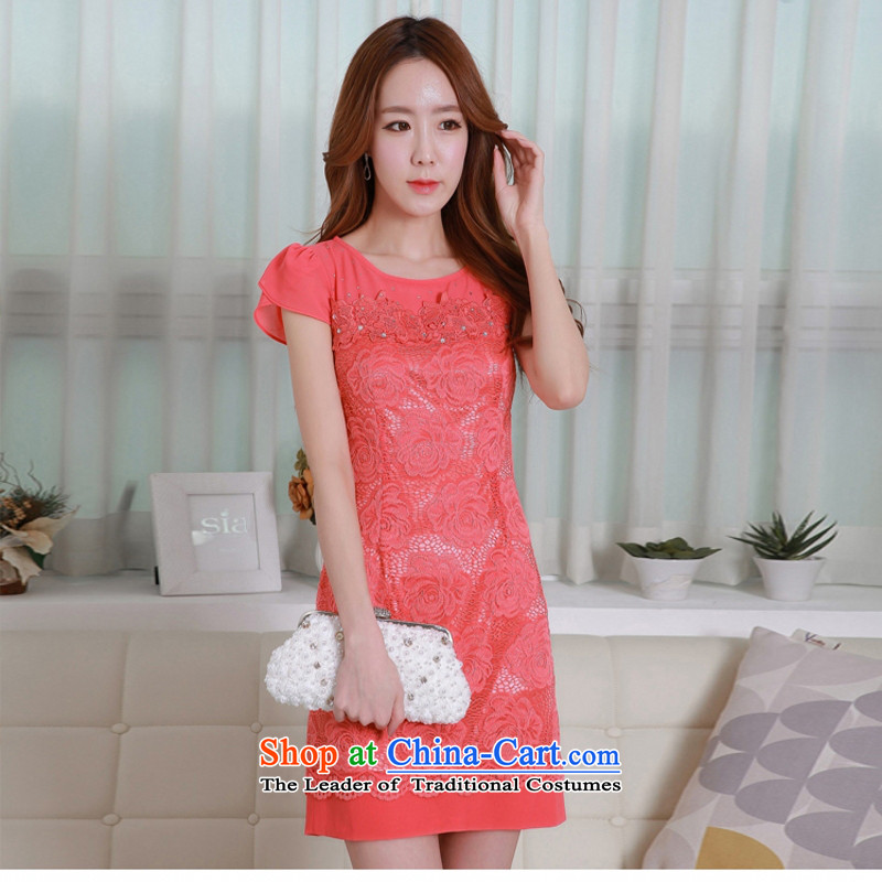 C.o.d. 2015 Summer new Korean fashion hot drill lace short-sleeved video thin elegant dresses watermelon red XL