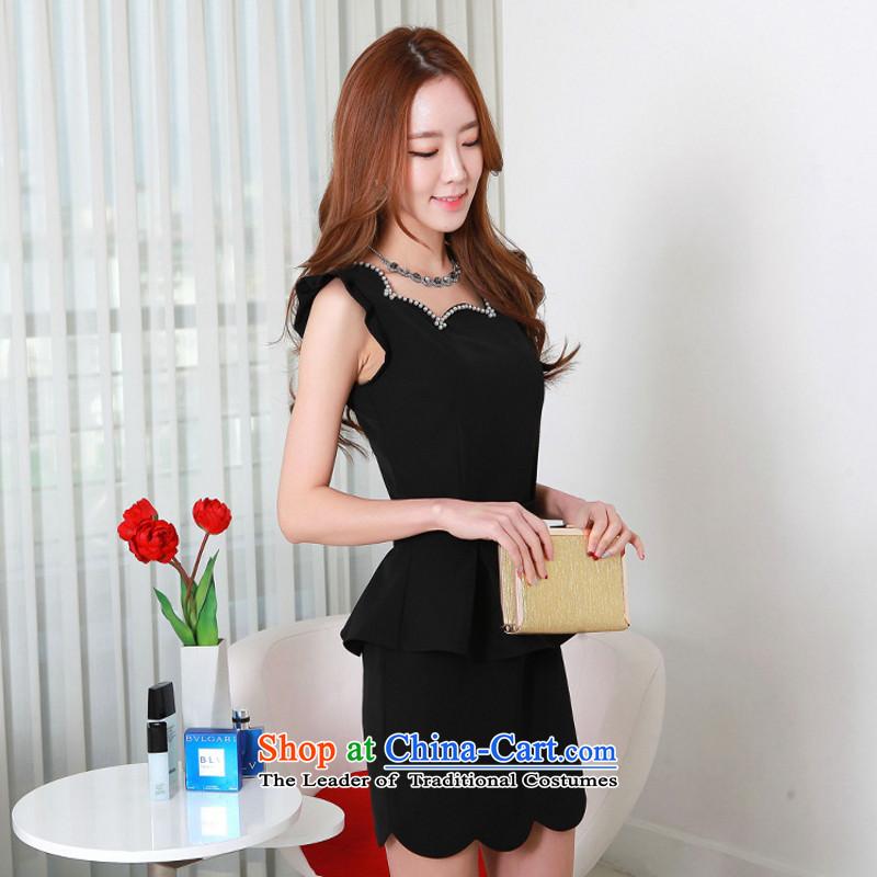 C.o.d. 2015 Summer new Korean fashion petals half pure hand nailed Bead Crafts functional temperament dressesXXXL black