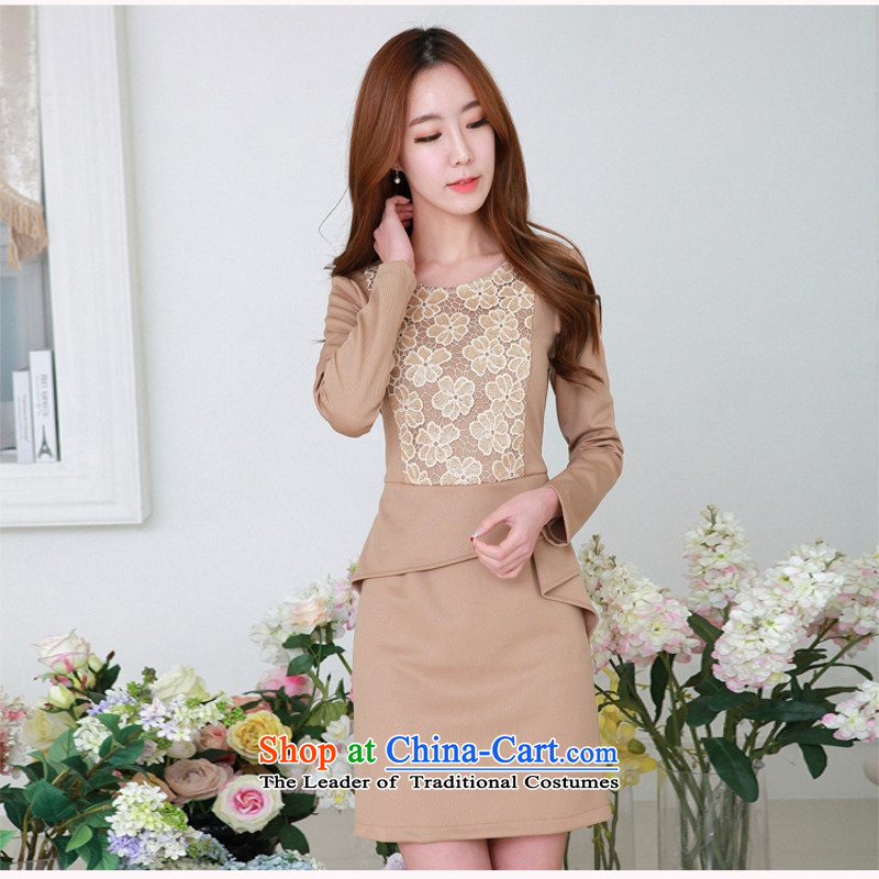 C.o.d. 2015 Summer new Korean elegant flower waist folds positioning round-neck collar long-sleeved stitching thin temperament dresses and color聽XL