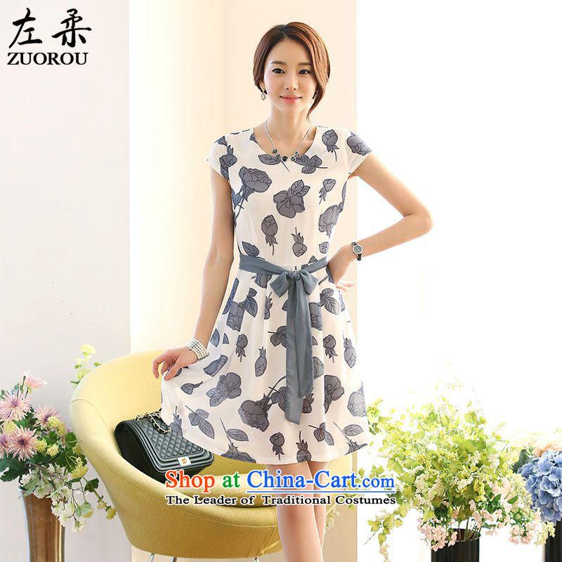 2015 Summer Sophie left Korean female sweet stamp chiffon Sau San short-sleeved dresses larger Female dress WhiteXL
