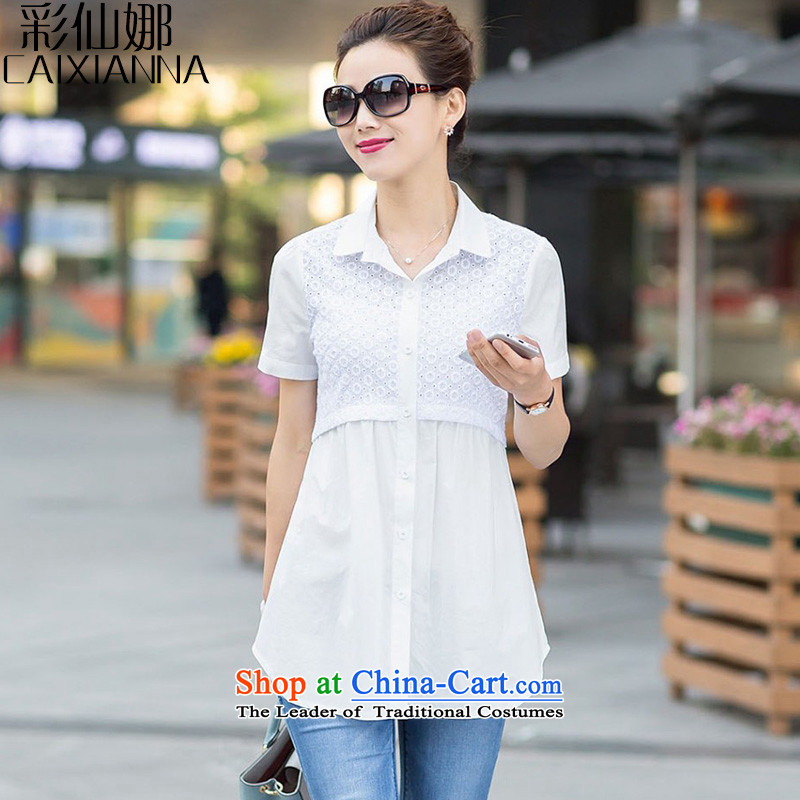 Also theNEW Summer 2015 sin for women in larger Ms. Sau San long Korean POPO collar short-sleeve shirt Pure Cotton WhiteXXL