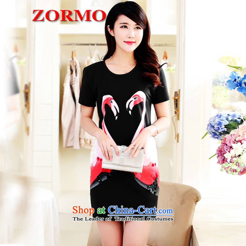 Large ZORMO female thick mm to xl dresses swan stamp round-neck collar short-sleeved leisure short skirt black L
