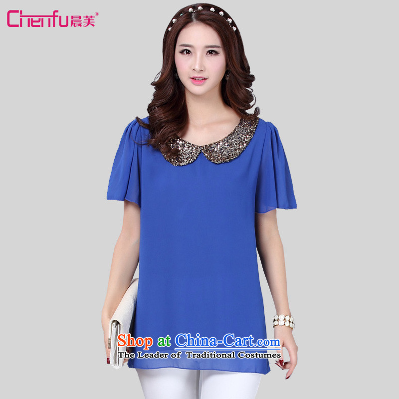 Morning to 2015 mm thick summer new to xl female Korean relaxd casual dolls for video thin film on horn chiffon shirt-sleeves T-shirt female clothesfor the burden of blue 4XL( 150 - 160131)