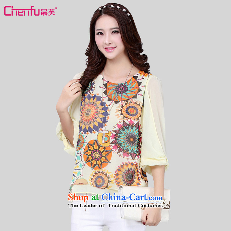 2015 summer morning to the new Korean to increase women's code thick mm thin 7 graphics temperament cuff-color printing T-shirt knocked female clothes chiffon shirt apricot5XL( weighs 160-170 suitable for coal)