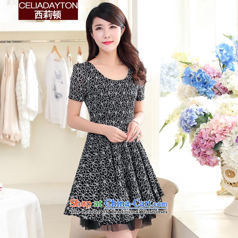 Szili Clinton lace dresses han bum short-sleeved 2015 Summer new thick mm Mei stylish upmarket chain link fence Sau San temperament gentlewoman dresses to increase women's blackXXXL