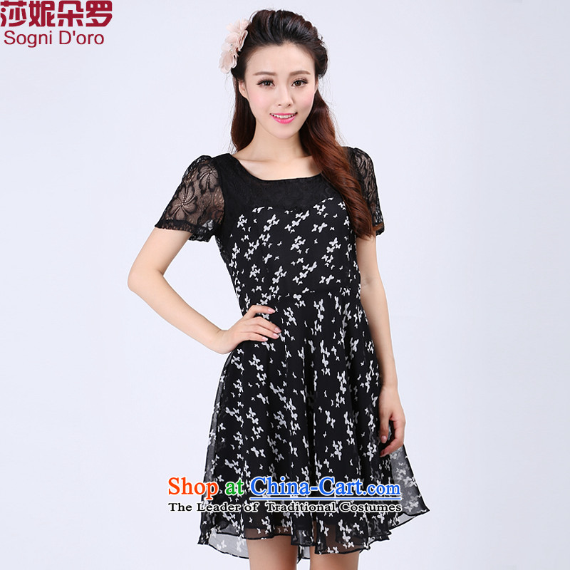 The latte macchiato, Shani to increase women's code for summer 2015 mm thick lace cuff saika chiffon short-sleeved dresses 6,737 policemen at the black3XL