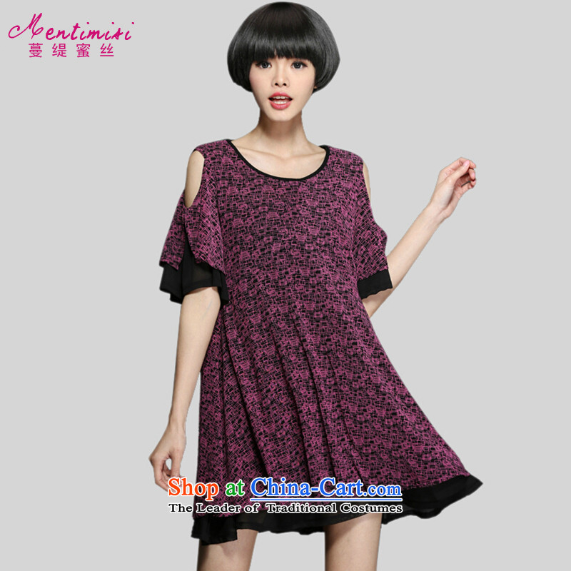 Overgrown Tomb economy's code honey female summer catty to increase 200 thick sister bare shoulders short-sleeved Korean relaxd dress code color large picture 2873XL around 922.747 125