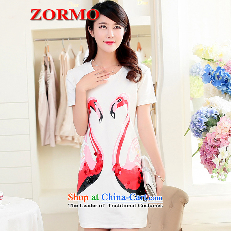 2015 Summer ZORMO new larger female swan stamp to xl dresses White聽XL