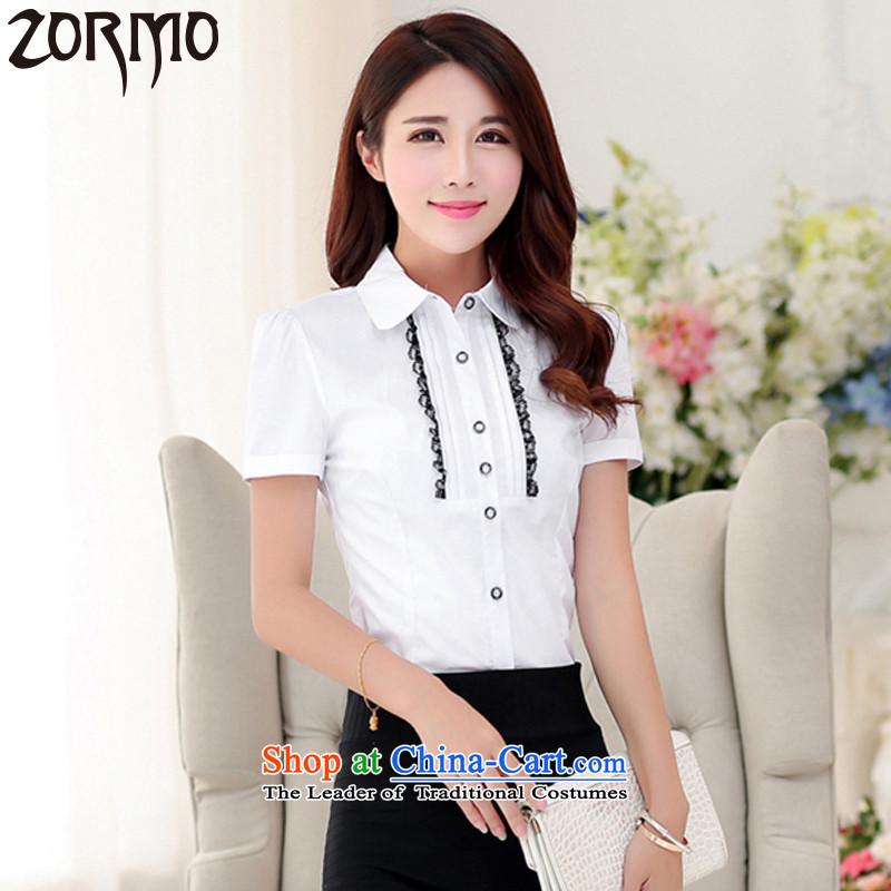 聽Maximum number of ladies ZORMO to xl shirt thick mm200 catty lace decorated OL attire, forming the shirt female white聽XXXL 140-160 characters catty