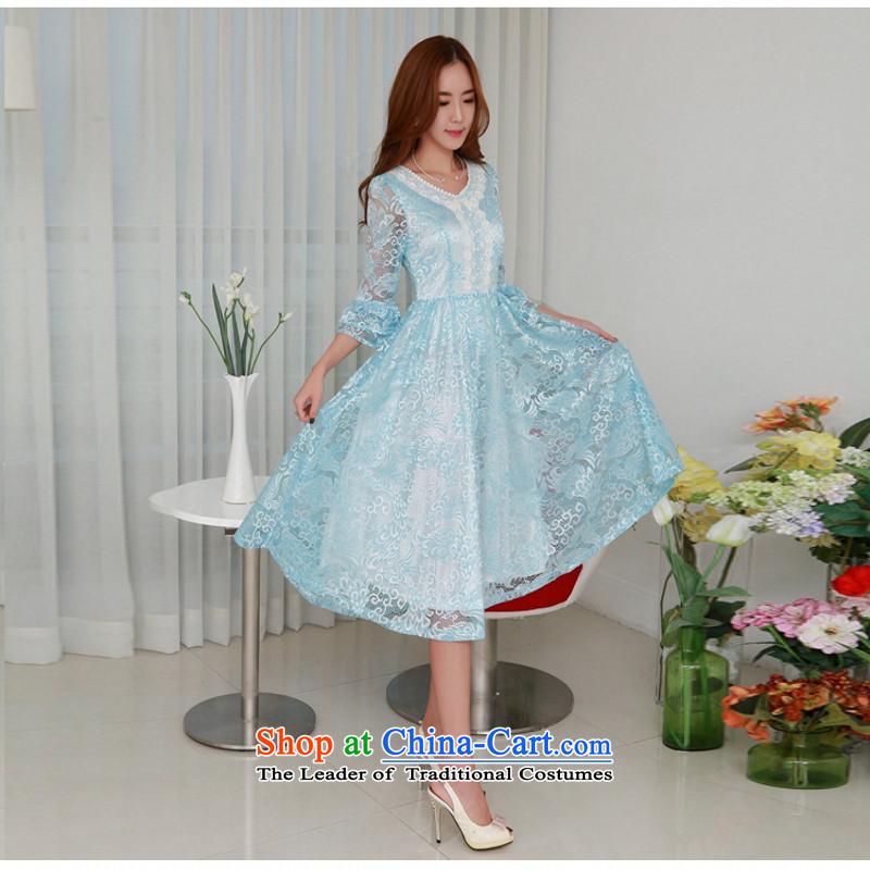 C.o.d. 2015 Summer new stylish classic Korean leisure temperament retro 7 cuff-color Phoenix lace dresses in large long skirt blueXL