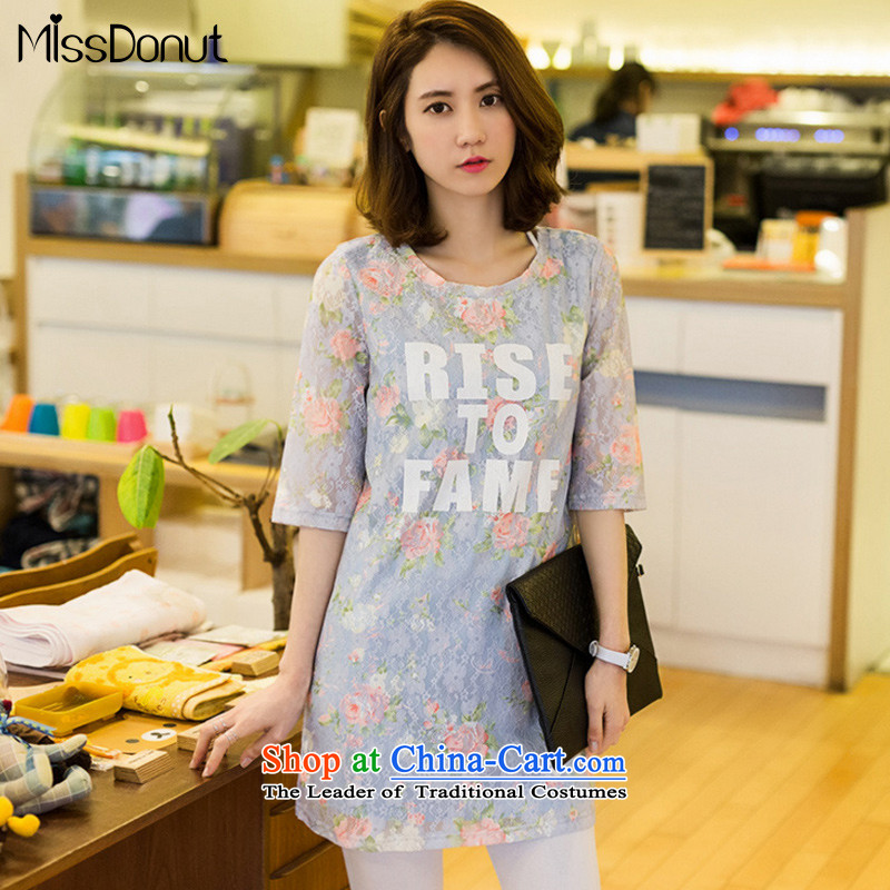 To increase the number missdonut female Korean mm200 thick catty thick, Hin thin (A field skirt thick sister short-sleeved lace dresses skyblue larger 3XL recommendations 180-200 catty