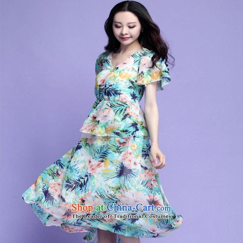 C.o.d. 2015 Summer stylish new larger Bohemia chiffon long skirt saika beach skirt traveling dresses chiffon long skirt green聽XL