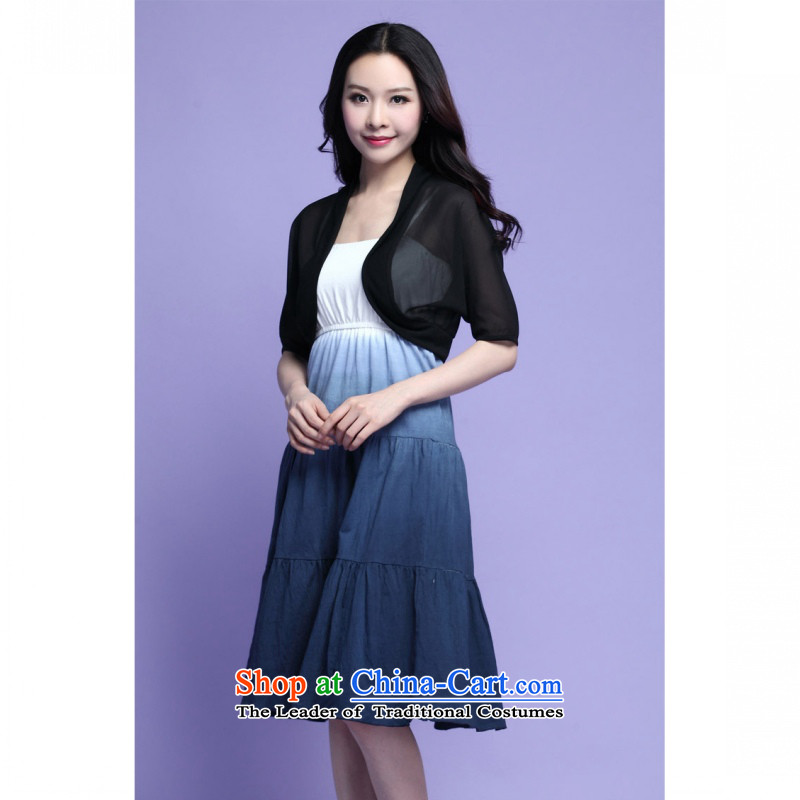 C.o.d. 2015 Summer new Korean large stylish thick MM video thin really two CAMI gradient relaxd dress chiffon jacket blue4XL
