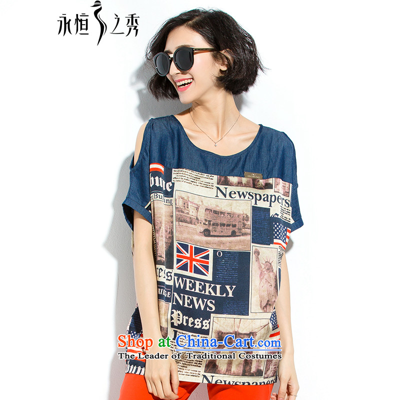 The Eternal Soo-to increase women's thick mm Summer 2015 new products loose video thin England wind stamp short-sleeved T-shirt map colorXL