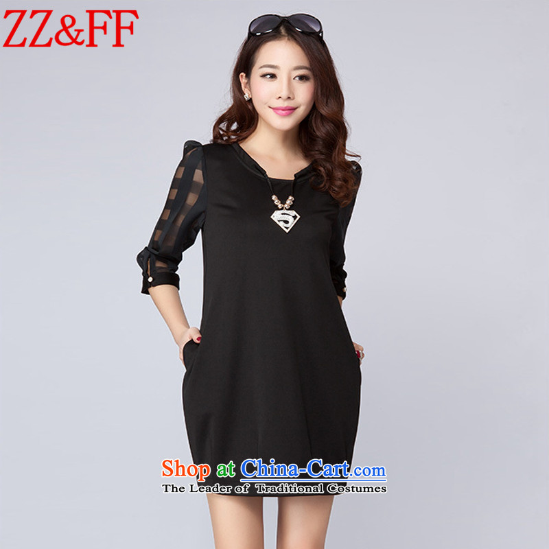 2015 Summer Zz&ff new larger female Pure Color 7 to the Cuff video thin dresses LYQ612 female black L