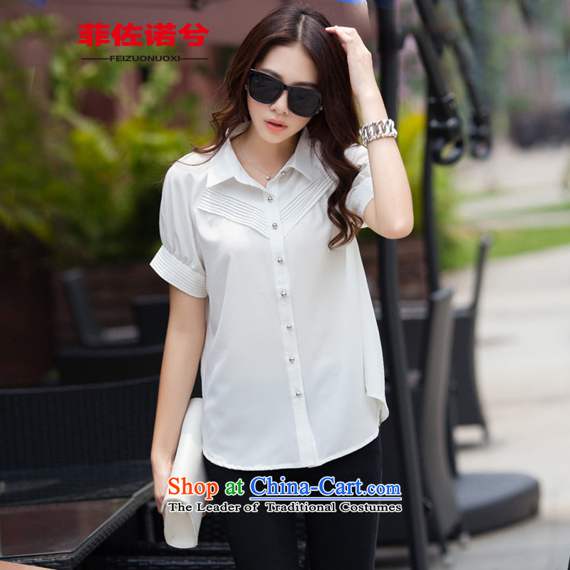 The officials of the fuseau larger female back lace stitching to xl short-sleeved shirt thick mm loose chiffon shirt White4XL