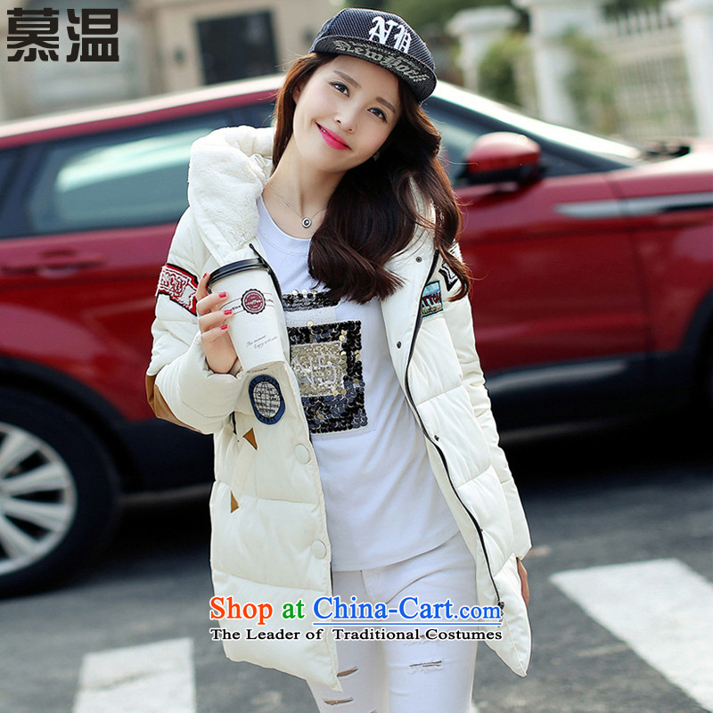 The temperatureof the Winter 2015 new larger women in MM thick rabbit hair for badge put long cotton coat female loose video thin 9020 White.... XL