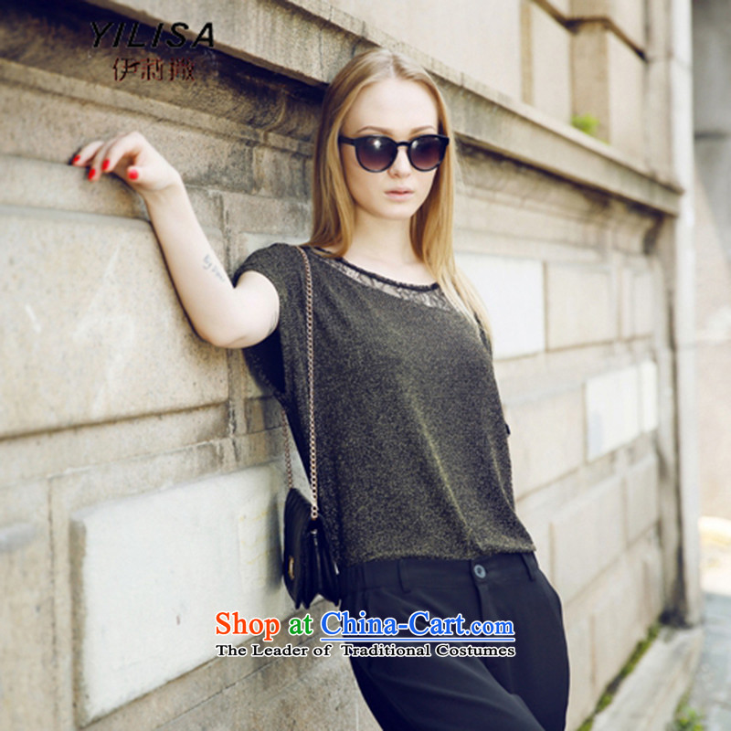 Ms 2015 Western large sub-Women's Summer new t-shirt kit fat mm summer stylish large engraving T-shirt + 9 shorts kit Y5621 picture color4XL