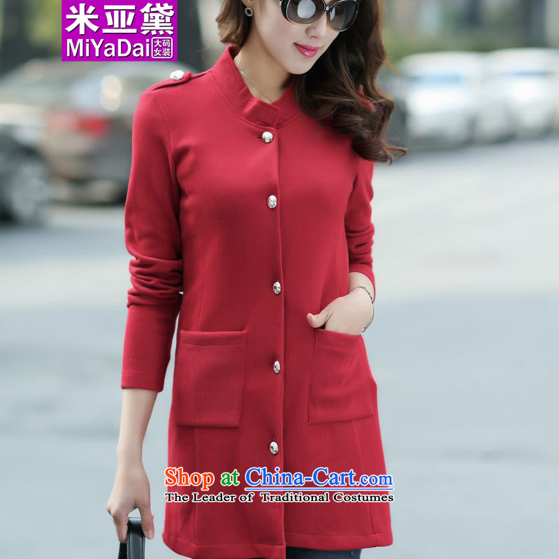 The Doi larger female autumn replacing thick mm Fall/Winter Collections 2015 new Korean version thin to thick sister xlarge knitwear cardigan long jacket, wine red4XL