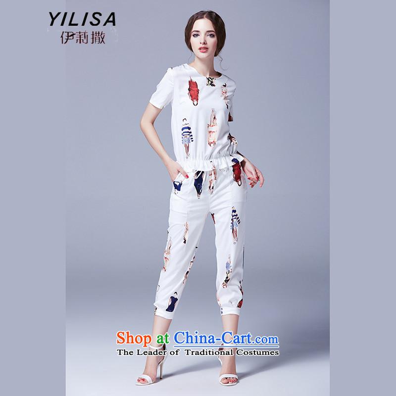 Elizabeth to sub-XL women new summer leisure wears thick mm stylish stamp pattern shirt two kits t-shirt 9 leisure wears pants K2465XL White