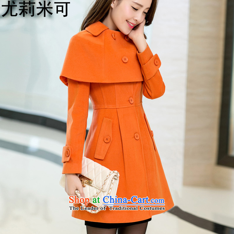 Julie M 2015 Autumn new larger female Korean version in the long hair of Sau San? jacket coat female 108-11 Orange燬